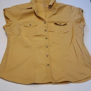 Mustard sleeveless button down